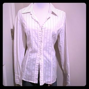 White Button-Up Blouse with Gold Thread